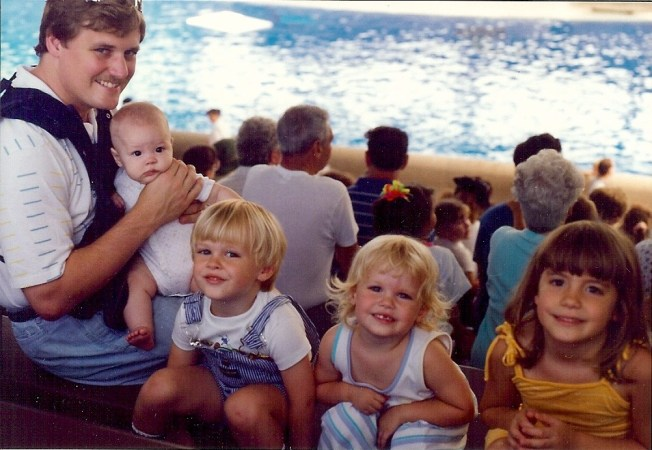 Brookfield Zoo dolphin show, August 1991.  Jim (RIP), Emily, Josh, Becca and Susan (bride to be in 3 weeks!).