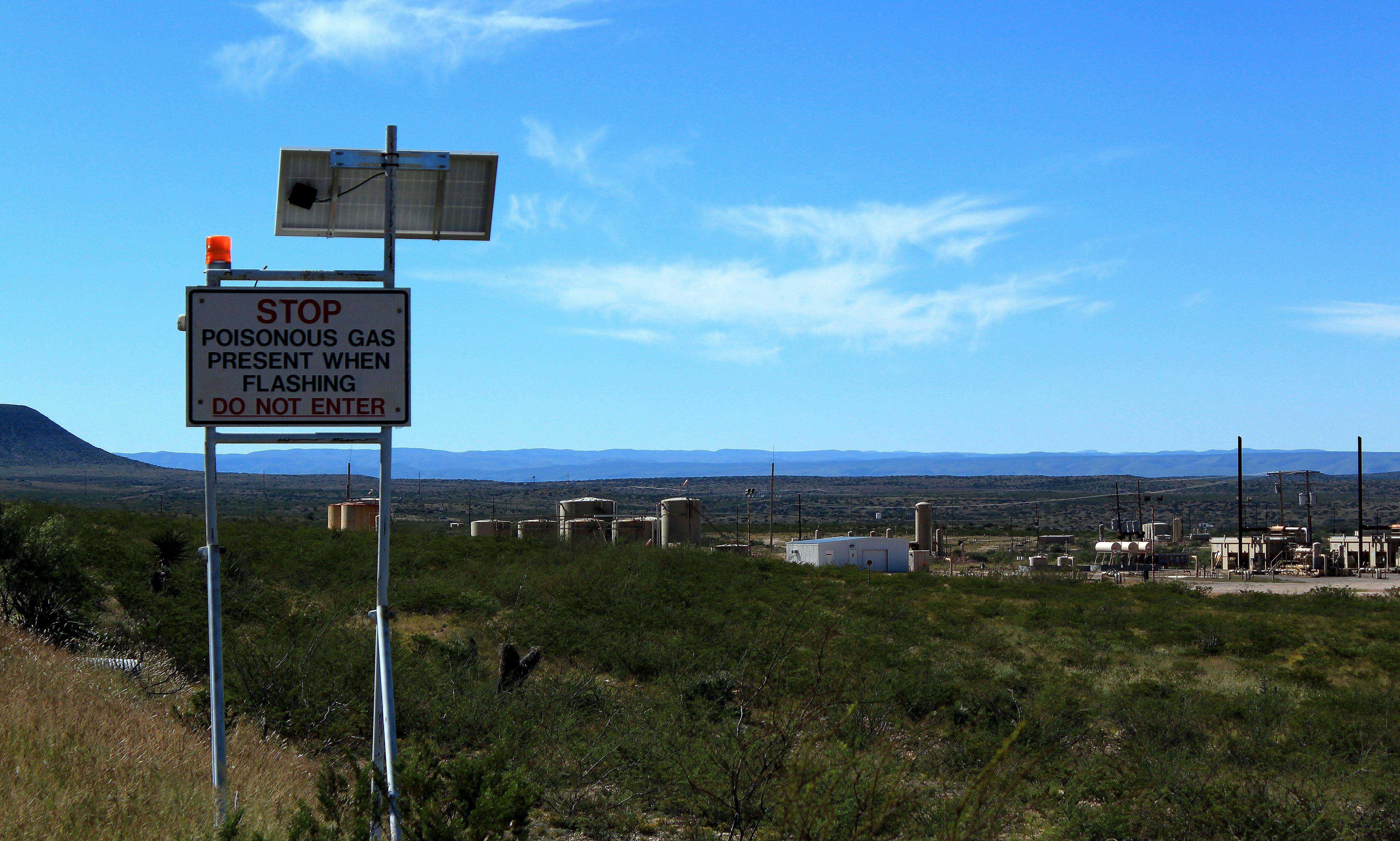 Sign along Hwy 137 in New Mexico; near Guadalupe National Park and Lincoln National Forest...and oil wells.